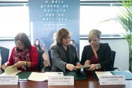 La secretaria general de la Igualdad, Susana López Abella, firmó esta mañana los convenios de colaboración con la Asociación Mirabal y la Asociación Red de mujeres contra los maltratos de Vigo