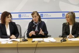 La secretaria general de la Igualdad, Susana López Abella; la directora general de Familia, Infancia y Dinamización Demográfica, Amparo González; y la directora general de la Fundación Meniños, Mónica Permuy, presentaron hoy esta iniciativa