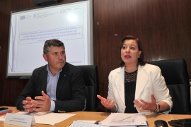 La secretaria general de la Igualdad, Susana López Abella, y el delegado territorial de la Xunta, Ovidio Rodeiro, mantuvieron hoy una reunión con las entidades y los CIM